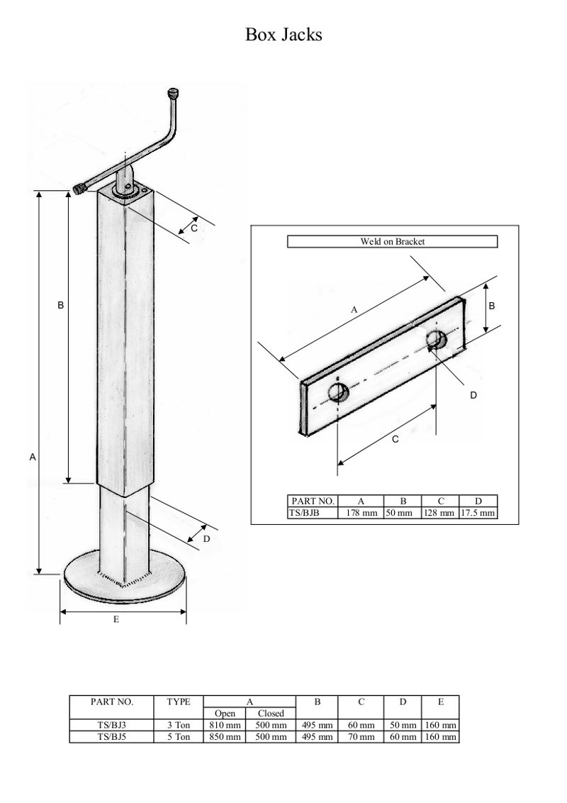 TS/BJB Box Jacks   Weld on Bracket See Drawing